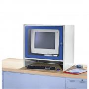 RAU Monitorgehäuse mit integriertem Aktivlüfter HxBxT 710 x 710 x 550 mm lichtgrau / enzianblau