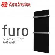ZenSwiss furo (Farbe: Glanz Schwarz, Format: 52 x 120 cm)