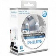 Set 2 becuri auto far halogen Philips H7 White Vision 12V 55W