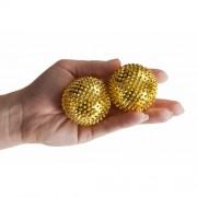 Bile de acupresură cu magneţi, auriu, diam. 4,5 cm