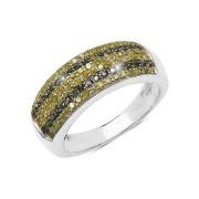 Inel argint cu diamante galbene si diamante verzi