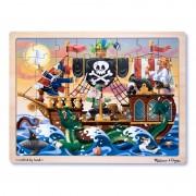 Puzzle lemn Aventura Piratilor Melissa and Doug, 48 piese, 40 x 30 cm, 3 ani+