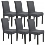 [neu.haus] Set de 6 x funda para silla en color gris oscuro material extensible y elástico para diferentes tamaños de sillas