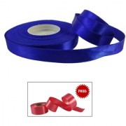 De-Ultimate Royal Blue Satin Ribbon Roll Of 18 Meter for Decorations Gift Wrapping Arts And Craft With Freebie Ribbon