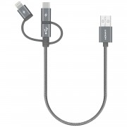 MOMAX MFI Certified 30cm 3-in-1 Lightning 8Pin + Micro USB + Type-C USB Cable for iPhone Samsung Huawei - Grey