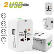 Deals e Unique Universal Adapter Worldwide Travel Adapter with Built in Dual USB Charger Ports (White)