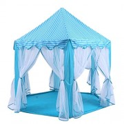 Blue Hexagon Play Castle Indoor Kids Play Tent Outdoor Boys & Girls Playhouse with 23ft LED Star String Lights