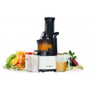Storcator cu presare la rece Premium Oursson JM6001 IV 240 W 60 RPM cu melc Pentru toate tipurile de fructe si legume Functie de auto curatare Recipient suc 1 l ALB