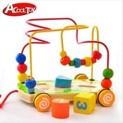 ACOOLTOY Wooden Rolling Bead Maze Toy with Pull Along String Rope and Shape Sorter puzzle for Kids Early Education