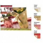 Csomagoló fólia hópelyhes, kockás 1x25m rózsaszín/arany