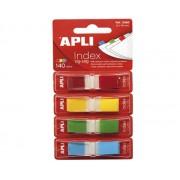 INDEX POP-UP APLI 12x45 mm, 140 file/set, 4 culori margine neon Index plastic 45x12 mm Cu dispenser 4