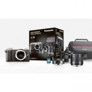 Panasonic Hybride PANASONIC DMC-GX80 Argent + Objectif Panasonic 12-32MM + 25MM + 35-100MM