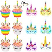 Beleheen 24 Pack Children Rainbow Unicorn Paper Masks Kids Cupcake Toppers and Wrappers Double Sided Cake Birthday Decoration Party Favors