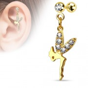 Helix piercing hanger fairy gold plated 14 kt.