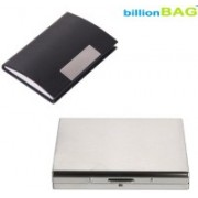Billionbag New Steel Plain Stainless ATM & Black Leather Metal Business Visiting 6 Card Holder(Set of 2, Multicolor)