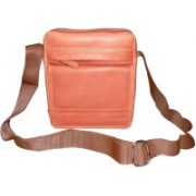 Kan Brown Pure Leather Shoulder Bag/Small Travel Bag For Men and Women Small Travel Bag - Medium(Brown)