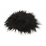 Molly långhårig rund stolsdyna i fårskinn - svartbrun