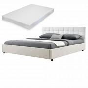 MyBed Cama tapizada acolchada + colchón 140x200cm blanco/beige cuero sintético - Castillo de Garcimuñoz