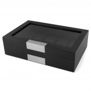 Warren Asher Zwarte Gepolijste Houten Horlogebox met Zilverkleurig Accent - 10 horloges