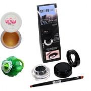 Vozwa Gold Gradient Eyeshadow Shimmer Powder Waterproof Long Wear Gel Eyeliner Smudge Proof and Band