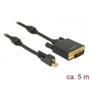 DeLock Mini Displayport 1.2 male with screw > DVI-D (Dual Link) male 4K Active Cable 5m Black 83728