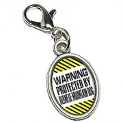 Graphics and More Warning Protected by Bernese Mountain Dog Antiqued Bracelet Pendant Zipper Pull Oval Charm with Lobster Clasp