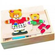 Puzzle din lemn Bino Imbraca familia de ursuleti
