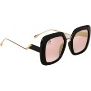 Aislin Over-sized, Retro Square Sunglasses(Pink)