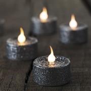 Lumânări tip pastilă LED, set 6 buc, argintiu cu sclipici