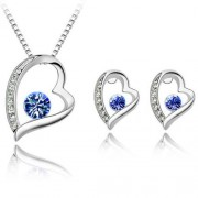 Swarovski set srdce - modrá