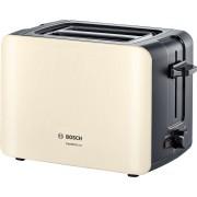Prajitor de paine Bosch ComfortLine TAT6A117, 1090 W, compact, 2 felii, reglaj electronic, suport chifle integrat, cream/gri închis