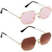 Bryan Adams Rectangular Sunglasses(Brown, Pink)