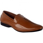 Austrich Mens Brown Patent Leather Loafers