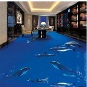 Zjxxm Grandes fondos de pantalla personalizados no tejidos Dolphins Dance Underwater World 3D Stereo Bath Living Room Floor Paintings-400cmx280cm