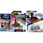 Marvel Star-Lord Guardians of the Galaxy Vol. 2 Hot Wheels Movie Exclusive set + Character Car + Blind Bag Mystery Dog Tag Collectible 2 car bundle