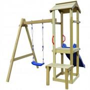vidaXL Градинска пързалка с люлка 228x168x218 см FSC борова дървесина