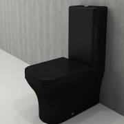 Toiletpot Set / Duoblok Toilet Staand Letta 65x36,5x90cm Keramiek Diepspoel Nano Coating EasyClean Rimfree Mat Zwart met Toiletbril