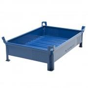 Heson Stapelbehälter aus Stahlblech, niedrige Bauform, Wände geschlossen BxL 1000 x 1200 mm, Traglast 1000 kg blau, ab 10 Stk