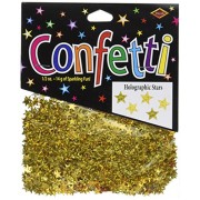 Beistle Cn057 Gold Holographic Stars Confetti, 1/2 Ounce