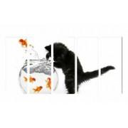 Set Tablouri Multicanvas 5 Piese Pisica si Acvariu- 90 x 150 cm