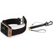 Mirza DZ09 Smart Watch and Selfie Stick for LG OPTIMUS L1 II(DZ09 Smart Watch With 4G Sim Card Memory Card| Selfie Stick)