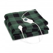 Klarstein Dr. Watson XXL, отоплително одеяло, 120 W, 200 x 180 см, coral fleece, зелено, кубчета (HZD2-DrWatsonXXL-GR)