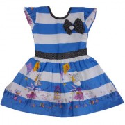 Girls Dress Striped printed Cotton Frock by Arshia Fashions - Cap sleeve - Blue