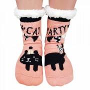 Ciorapi Imblaniti si Caldurosi Lady-Line Model 'Cat Party' Dusty Pink