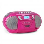 Auna KrissKross Cassete USB MP3 CD FM portátil Rosa