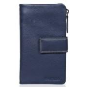 Calfnero Women Casual Blue Genuine Leather Wallet(12 Card Slots)