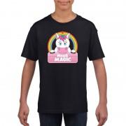 Bellatio Decorations T-shirt zwart voor meisjes met Miss Magic de eenhoorn