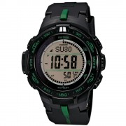 Casio PRO TREK Triple Sensor Slim Line TOUGH SOLAR Watch PRW-S3100-1 - Black + Green