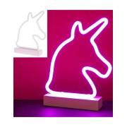Neon Enhörning Silhuett Lampa 31x24 cm