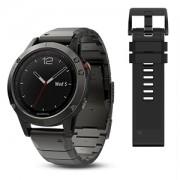 Watch, Garmin fenix® 5, За фитнес, здраве и мултиспорт, Sapphire Сив с метална каишка (010-01688-21)
